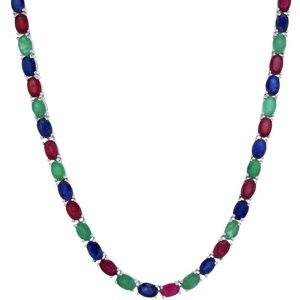 Jewelry - 34.12ct Emerald Ruby Sapphire Tennis Necklace